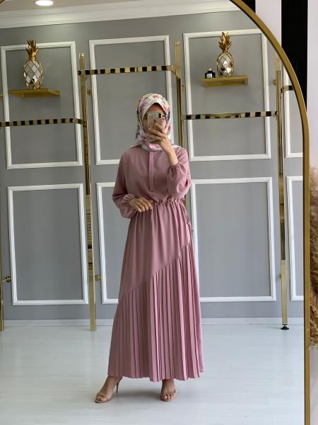 Pliseli Manolya Elbise Pudra