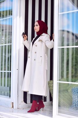 - PLİSELİ VOGUE TRENÇKOT TAŞ